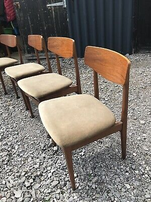 Vintage Retro Mid Century Danish Teak Dining Chairs x 4