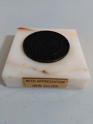 United States Senate Desk Paperweight With Appreciation John Culver