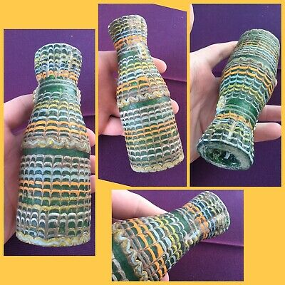 Very rare ancient large Phoenician green glass bottle    , 500 bc