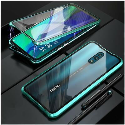 OPPO Reno 10x Zoom 5G Case Cover, Magnetic Metal Bumper Double Tempered Glass