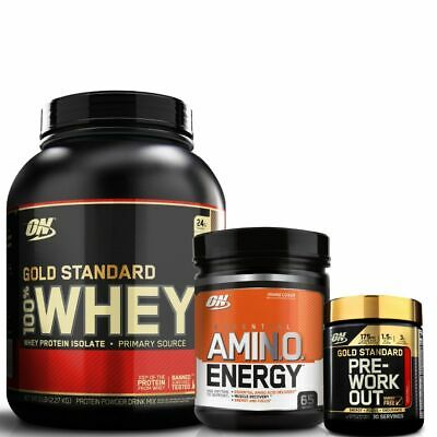 ON GOLD STANDARD 100% WHEY 5LB + GS Pre 30 Serve + Amino Energy 65 Serve ++