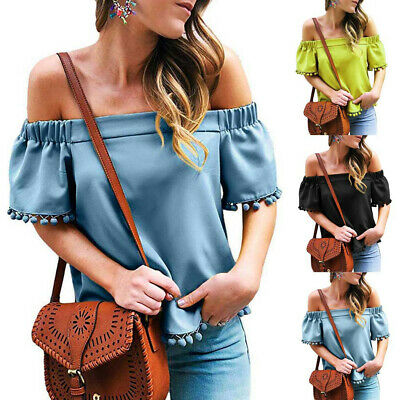 Fashion Womens Off Shoulder Solid Tassel T-Shirt Casual Loose Top Sexy Blouse