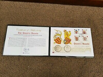 The Queen's Beasts Lion and Unicorn Bu Double UK Coin Cover  2017 Ltd Ed 495
