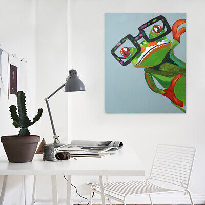 50x60cm Happy Frog Canvas Hand Painted Art Oil Painting Home Decor (Framed)