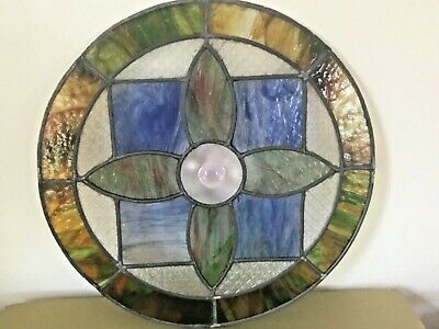 """OLD ENGLISH STAINED GLASS ROUND WINDOW INSERT Handcrafted 20"""" Antique Salvage"""