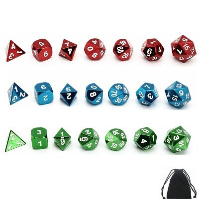 7Pcs/set Zinc alloy Polyhedral Dice DND RPG MTG Role Playing Game + Bag 3Colors