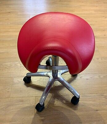 Deluxe Saddle Stool Red adjustable height with chrome base