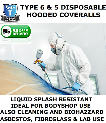 Disposable Coverall Hooded (Type 6 & 5 Same As Tyvek) Spray Suit,Paint Bodyshop