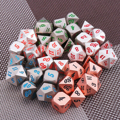 7PCS Polyhedral Metal Dice for dnd d&d MTG RPG Gaming lot sided Role Playing