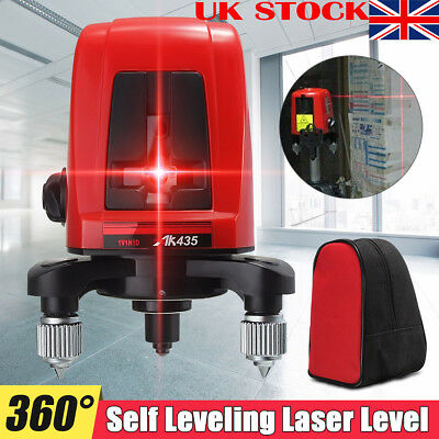 AK435 360 Degree Self-leveling Cross Laser Level Red 2 Line 1 Point With Bag UK