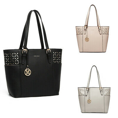 Ladies Designer Shoulder Bag PU Leather Laser Shopper Tote Long Strap Handbag