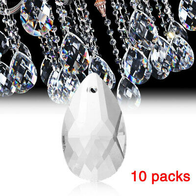 5A70 10Pcs/Pack Clear Crystal Pendants Hanging Glass Chandelier Decoration DIY