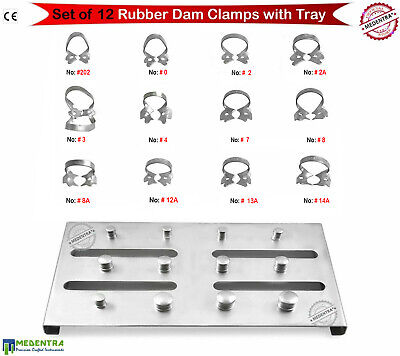 12Pcs Endodontic Rubber Dam Clamps Dental Instruments Endo Stainless Steel Tray