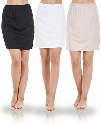 Ladies Seconds Plain Anti Cling Cooling Waist Half Slip Underskirt Petticoat