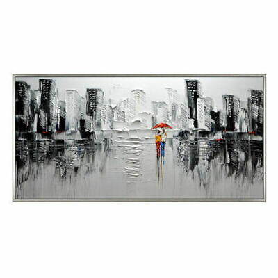 Large Modern Home Decor Art Canvas Abstract Cityscape Hand-Painted Oil Painting