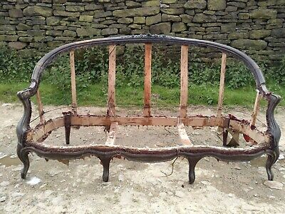 Antique French Sofa Walnut Frame and springs Upholstery Project