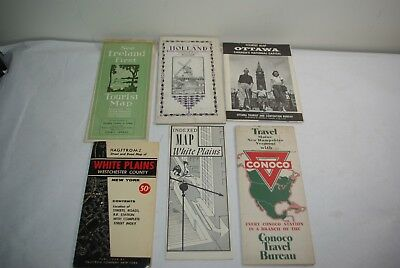 Vintage 1930's - 1940's International and USA Travel Road Maps Lot of (6)