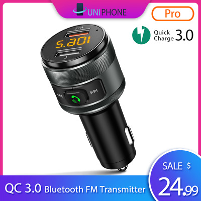 【2019 NEW】QC3.0 Wireless Bluetooth Car Kit FM Transmitter Radio MP3 USB Charger