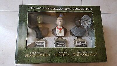 The Monster Legacy Dvd Collection 13 Dischi E 3 Busti Dracula Frankenstein...