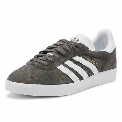 Adidas Gazelle Mens Grey Classic Trainers Lace Up Suede Sport Casual Shoes
