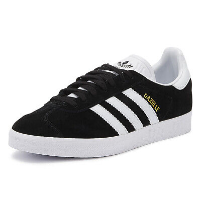 Adidas Gazelle Mens Black/White Trainers Lace Up Suede Sport Casual Shoes