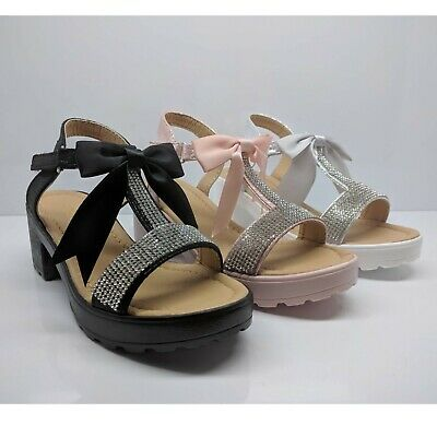 Girls Childrens Kids Party Bow Ribbon Wedding Heels Open Toe Sandals Shoes Size