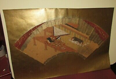 Antique Japanese Painting Fan Early Probably Edo Period Kano School