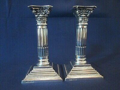 PAIR CANDLESTICKS! Vintage TIFFANY & Co STERLING 925 silver CORINTHIAN order EXC