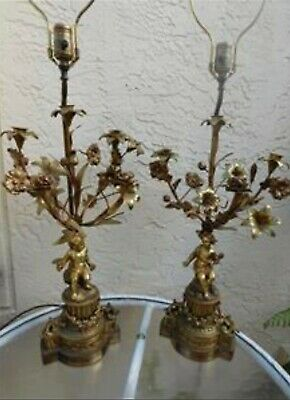 Pair Of Antique French Gilt Bronze Putto & Flower Candelabra Impressive Lamps
