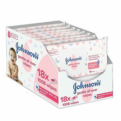 Johnson's Baby Gentle All Over Wipes, Pack of 18 (Total 1008 Wipes)