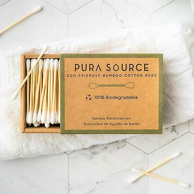 Bamboo Cotton Buds by Pura Source : 800 Biodegradable Organic Buds : Sustainable
