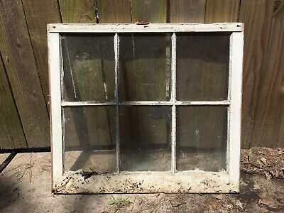 VINTAGE RUSTIC WINDOW SASH FRAME w/ 6 PANES GLASS