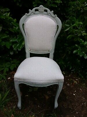 Shabby chic louis french style chair in light grey laura ashley katrina fabric