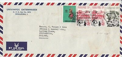 K 2072 Singapore May 1973 air cover UK;  75c rate, 3 stamps,