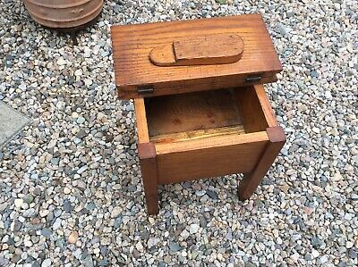 "Antique 1900 Arts Crafts Mission Solid Oak Wood Foot Stool Shoe Shine Box 15"" H"