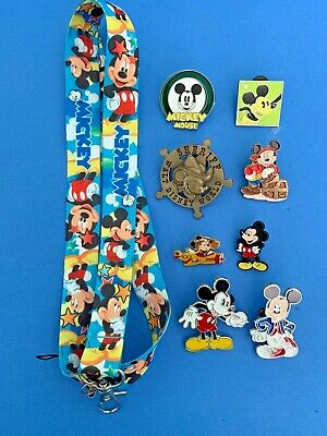 Disney 8 Mickey Mouse Pins Lot + Mickey Lanyard Great Starter Set for Boys New