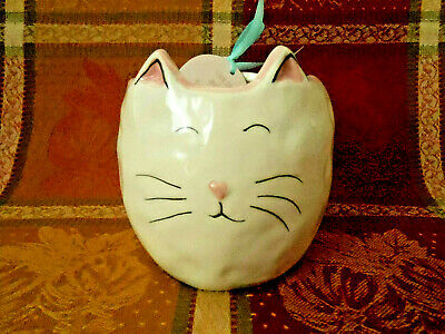 10 Strawberry Street Whimsical Cupboard Cat 14oz Mug Striped Handle NEW!
