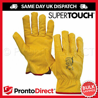 Driver Work Gloves Fleece Cotton Lined Soft Leather Lorry Drivers Driving Safety