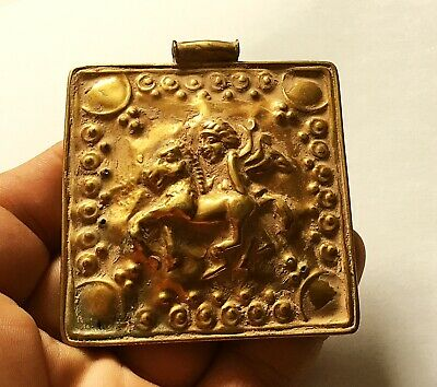 Scarce Ancient Persian Gold Gilded Pendant With Warrior Depiction On Horseback