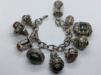 """8"""" HEAVY Ornate Antique Style Very LARGE Charms Bracelet Coral Onyx"""
