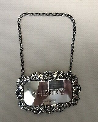 Vintage Richards & Knight Sterling Silver Sherry Liquor Tag