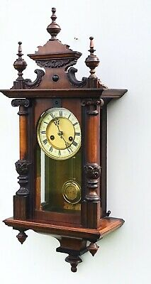 Walnut Vienna Clock Of Small Pre-portions By H.A.C