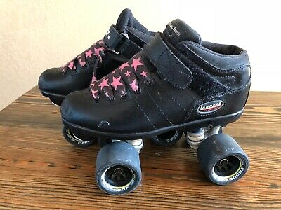 Riedell Carrera Black Speed Quad Roller Skates Size 7