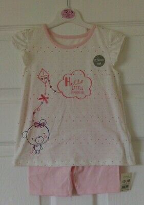 "Girls 12/18 Outfit Top & Shorts Set "" Hello Little Sweetie"" NWT George"