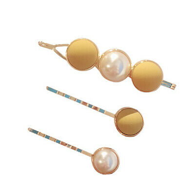 New 3PCS/Set Cute Pearl Geometric Alloy Hairpins Women Girls Sweet Barrette Hair