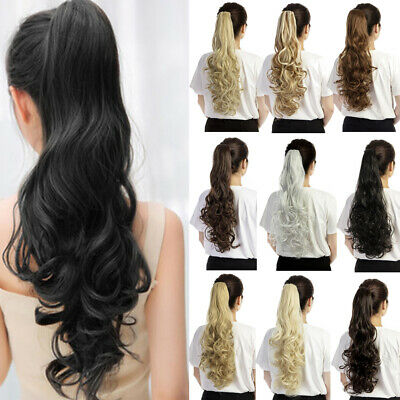 Synthetic Claw Clip Ponytail Extension Long Wavy Pony Tail Hair Piece For Ladies