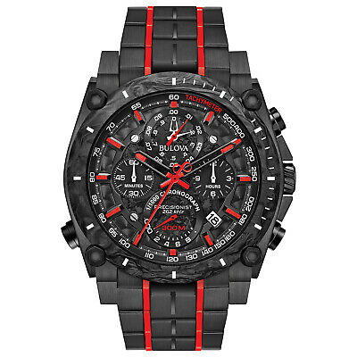 Bulova Men's Quartz Precisionist Chronograph Red Accents 46.5mm Watch 98B313