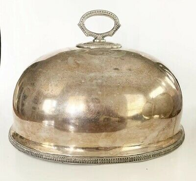 STUNNING Antique Silver Plate 1800s Meat Food Dome Cover Cloche Stamped Numbered
