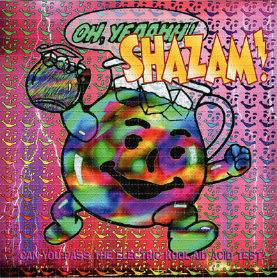 Electric KOOL-AID Shazam BLOTTER ART perforated sheet paper psychedelic art