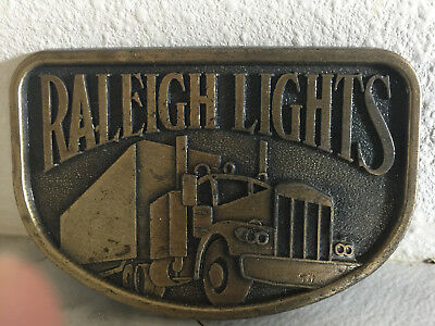 Raleigh Lights Cigarettes Tobacco Semi Truck Trucking Vintage Belt Buckle